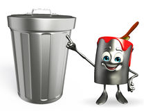 Paint Bucket Character with dustbin Stock Photography