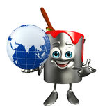 Paint Bucket Character with globe Stock Image