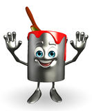 Paint Bucket Character is hello pose Stock Images