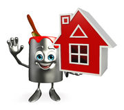 Paint Bucket Character with home Royalty Free Stock Image