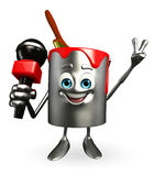 Paint Bucket Character with mike Royalty Free Stock Photos