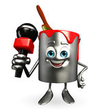 Paint Bucket Character with mike Stock Photo