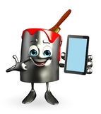Paint Bucket Character with mobile Royalty Free Stock Photo