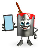Paint Bucket Character with mobile Stock Photo
