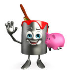 Paint Bucket Character with piggy bank Royalty Free Stock Photography