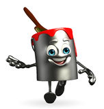 Paint Bucket Character is running Royalty Free Stock Photography