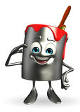 Paint Bucket Character is Salute pose Royalty Free Stock Photography