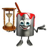 Paint Bucket Character with sand clock Royalty Free Stock Image