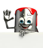 Paint Bucket Character with sign Stock Images