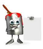 Paint Bucket Character with sign Royalty Free Stock Photos