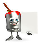 Paint Bucket Character with sign Royalty Free Stock Images