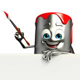 Paint Bucket Character with sign Stock Image