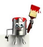 Paint Bucket Character with sign Stock Photos