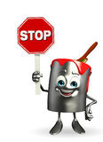 Paint Bucket Character with stop sign Stock Images
