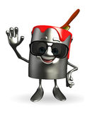 Paint Bucket Character with sun glasses Royalty Free Stock Photos