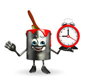 Paint Bucket Character with table clock Royalty Free Stock Photography