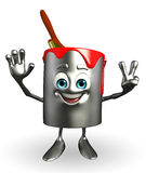 Paint Bucket Character is Victory pose Stock Images