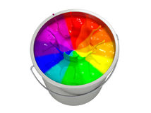 Paint Bucket - color wheel -  on white Royalty Free Stock Photos
