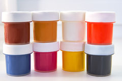 The paint bucket. The colored paint bucket CMYK Stock Photo