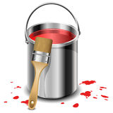 Paint bucket with paint brush Royalty Free Stock Image