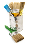 Paint bucket and paintbrush on white Stock Image