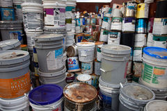 Paint bucket recycling Royalty Free Stock Photography