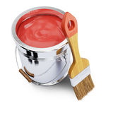 Paint bucket and brush Stock Images