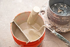 Paint Bucket and Roller Stock Photography