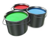 Paint Buckets. Three 3D Paint buckets red, green and blue placed on a white background Royalty Free Stock Images