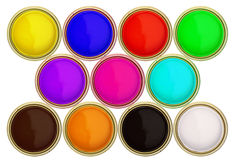 Paint buckets Stock Photos