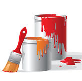 Paint buckets and brush. Over white background stock illustration