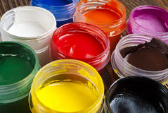 Paint buckets and brush Royalty Free Stock Photography