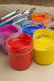 Paint buckets and brush Royalty Free Stock Image