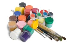Paint buckets with brushes isolated Stock Photography