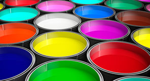 Paint buckets - with colored paint Royalty Free Stock Photos