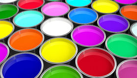 Paint buckets - with colored paint Royalty Free Stock Images