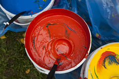 Paint buckets with colors Royalty Free Stock Image