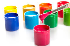 Paint buckets with paintbrush Stock Image