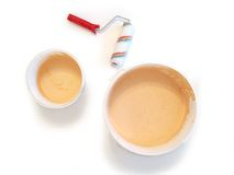 Paint buckets and paintbrush isolated Royalty Free Stock Photography