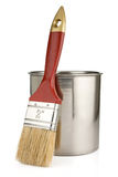 Paint buckets and paintbrush isolated on whit Stock Images