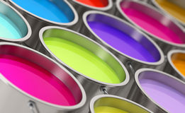 Paint buckets - shallow depth of field Stock Images