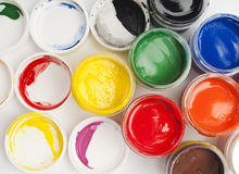 Paint buckets in soft focus Royalty Free Stock Images