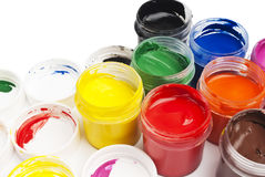 Paint buckets in soft focus Stock Photo