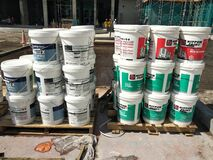 Free Paint Buckets Stacked At The Construction Site. Stock Photo - 187819460