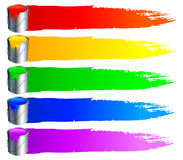 Paint buckets and strokes. Set of 6 paint buckets, with colour paint and strokes Stock Photo