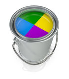 Paint can. Top view of a paint can with four colors (3d render Stock Photo