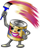 Paint can. Vector illustration of a smiling paint can with a brush Royalty Free Stock Photos