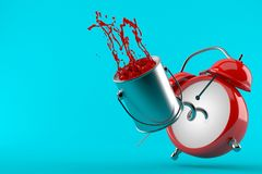 Paint can with alarm clock. Isolated on blue background. 3d illustration Royalty Free Stock Images
