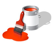 Paint can with brush. Illustration of paint can with brush Stock Images