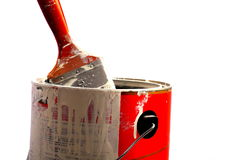 Paint can with brush Royalty Free Stock Images